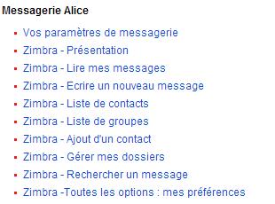 Accédez à l'assistance en ligne pour le Webmail d'Alice